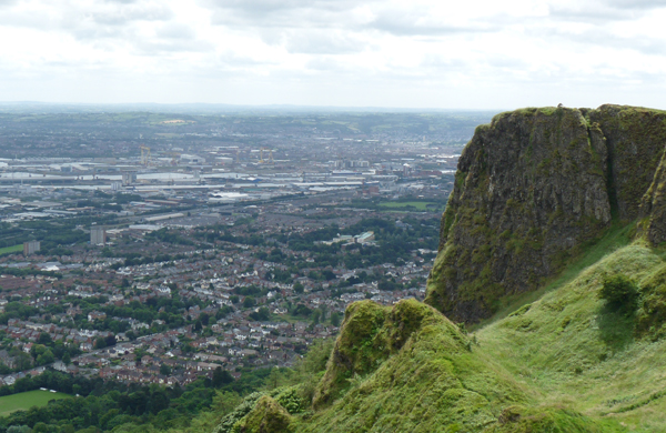 The view from the top of Cave Hill overlooking Belfast in the background