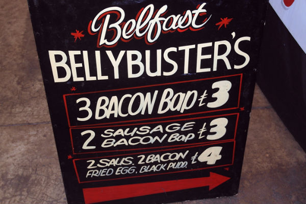 Sign displaying the prices of Belfast's Bellybuster's Baps