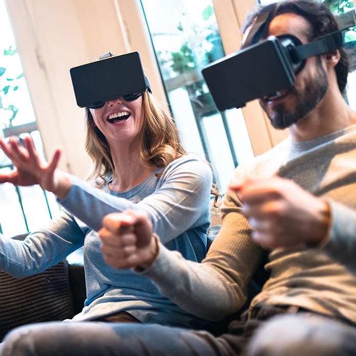 Couple playing with VR visors