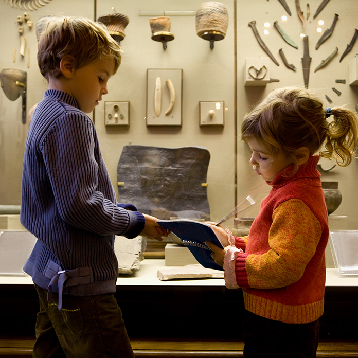 Young kids at a museum