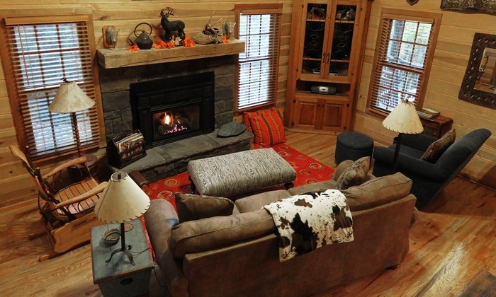 Cozy living room in one of the cabins