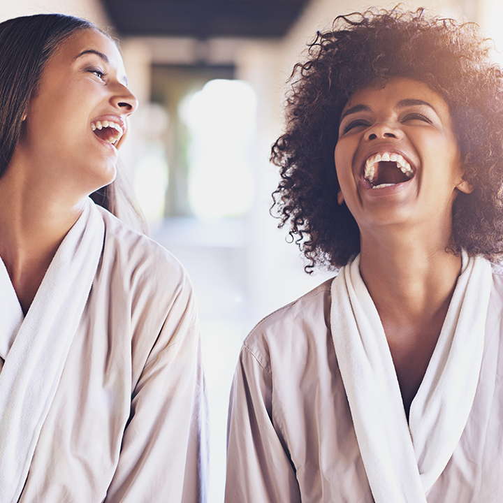 Two women enjoying a spa day together