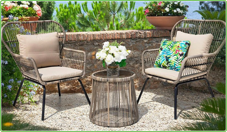 2 Wicker Chairs and Table Set