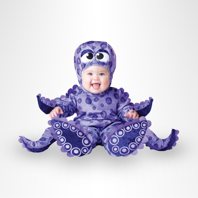 Laughing baby in an octopus costume