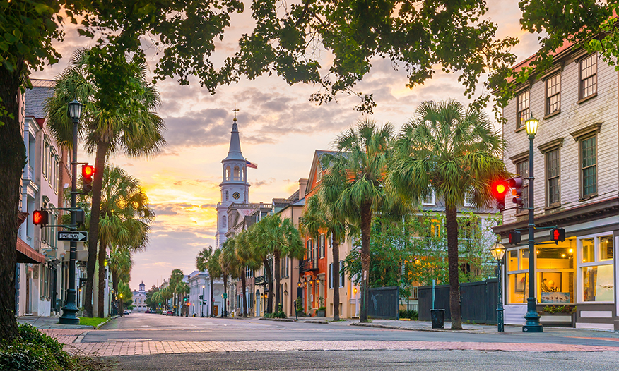 streetscape at sunset in Charleston, South Carolina