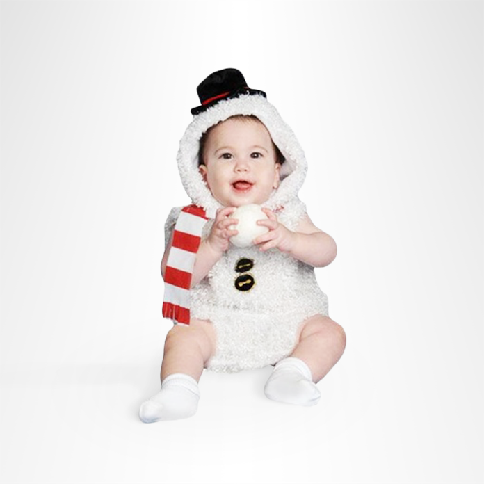 Baby in snowman costume