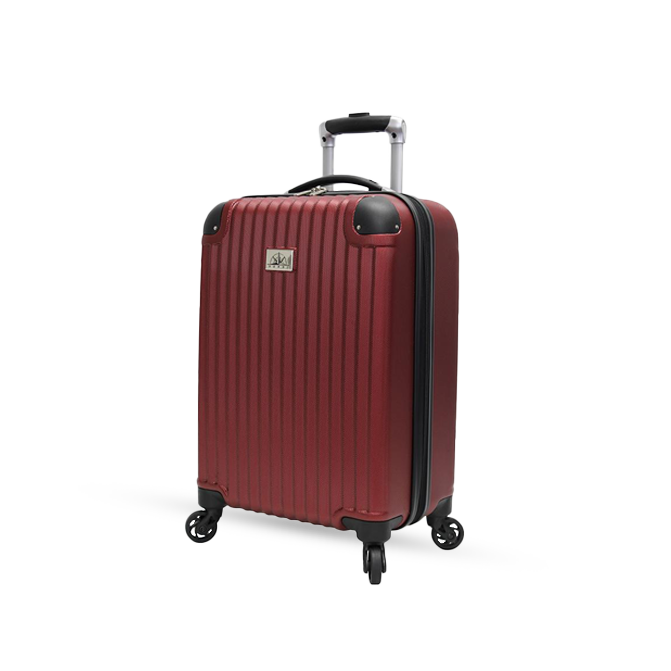 Red rolling carry-on suitcase