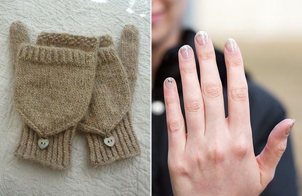 winter glitter manicure