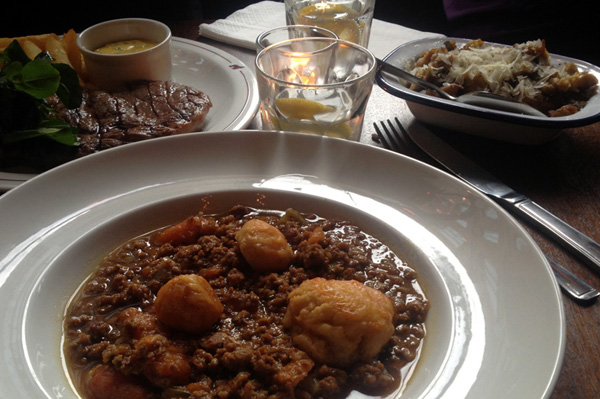 A plate of mutton and mince dumplings from Ape and Bird in London