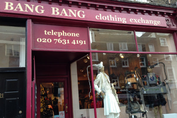 Exterior of Bang Bang Clothing Exchange in London