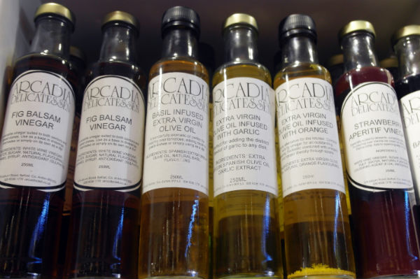 Bottles of oils and vinegars from Arcadia in Belfast