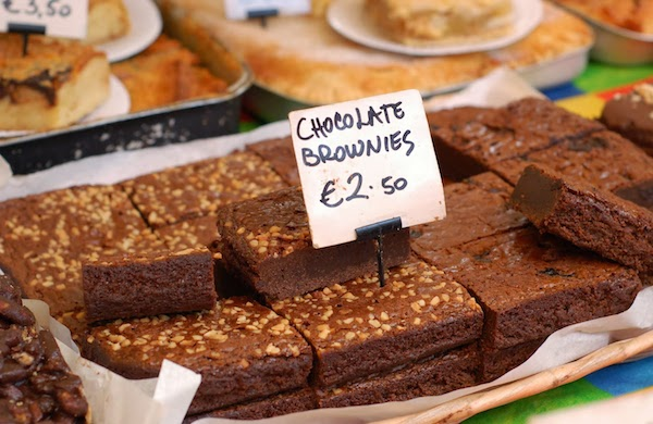 Delicious chocolate brownies in the Temple Bar Market Dublin