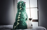 dog in dinosaur costume on bed next to cat