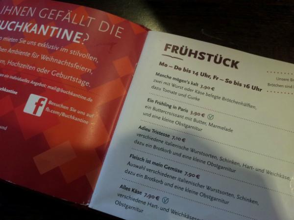 Speisekarte Buchkantine Moabit Berlin