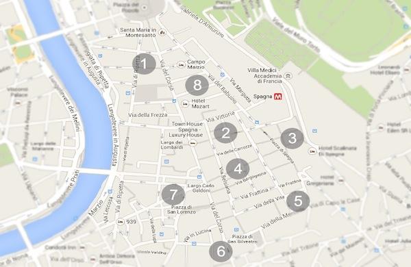 Una mappa dei negozi per fare shopping a Roma in Via del Corso e dintorni