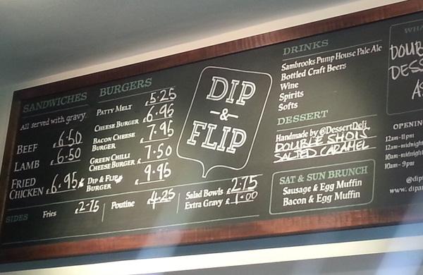 Dip & Flip Clapham burger menu
