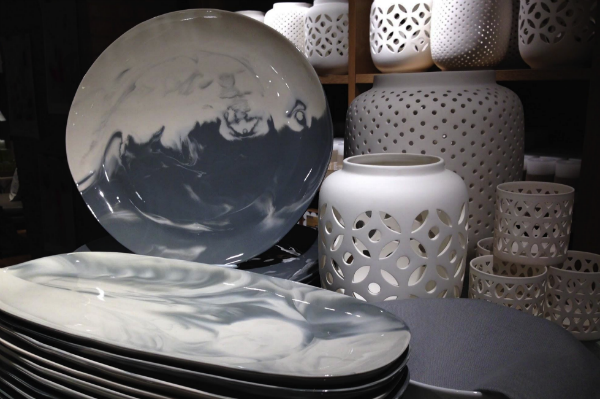 White and grey plates in West Elm in London
