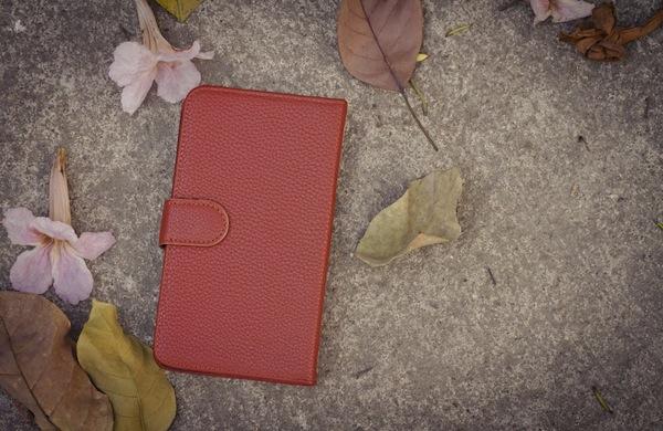 Smartphone leather case cover in retro picture style