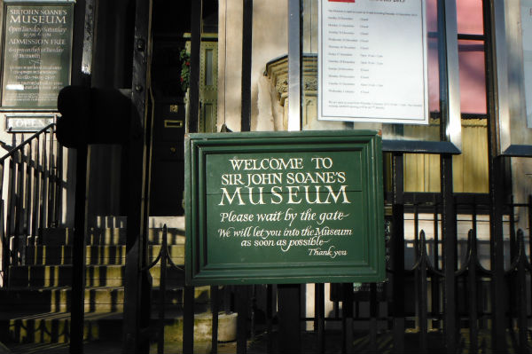 Outside the Sir John Soanes Museum in London