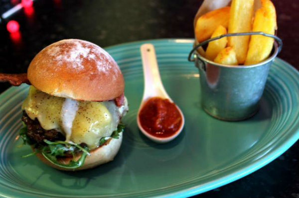 A serving of burger and chips in Belfast