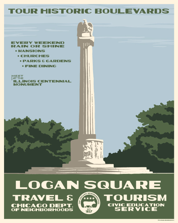 These-Vintage-Style Chicago-Tourism-Posters-Will-Show-You've-Loved-Your-Hood-Since-1930-logan-square_570c713