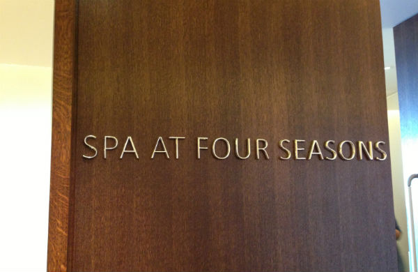 The door to the spa at the Four Seasons Hotel London