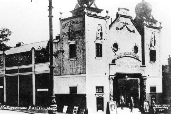 Old black and white photo of the Phoenix Cinema in London