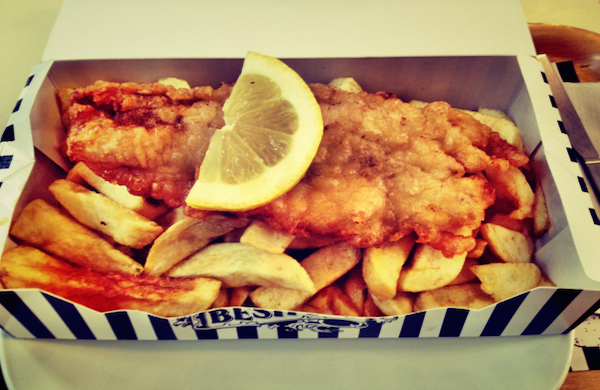 Fish and chips from Beshoff in Dublin city centre