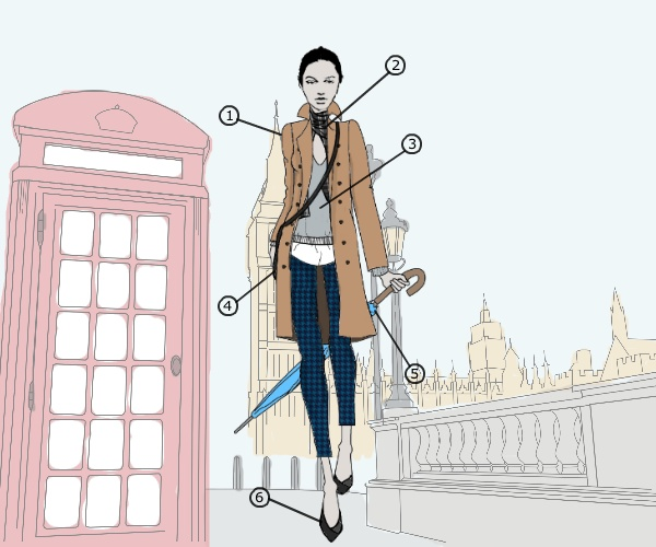 What to wear in London illustration