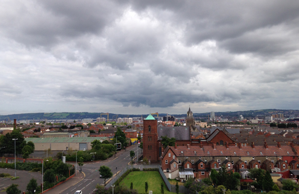 View from a Belfast Airbnb apartment