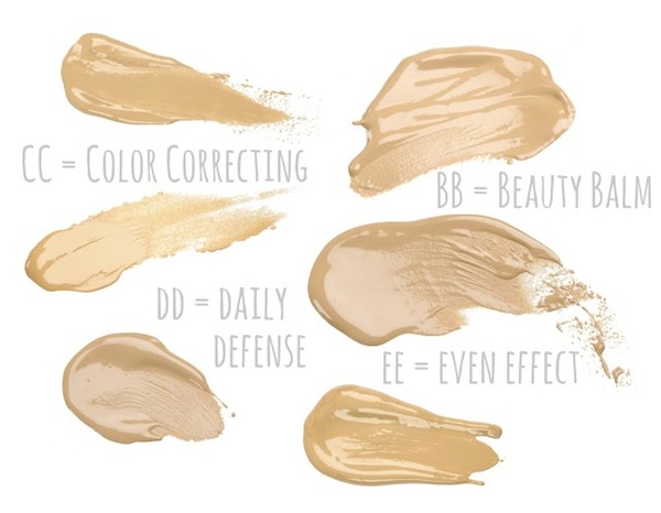 Collection of make up liquid foundation strokes on white