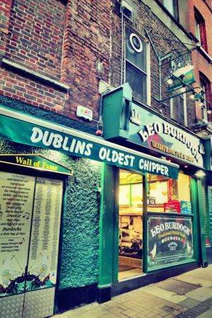 Exterior of the iconic Leo Burdocks chipper in Dublin's city centre.