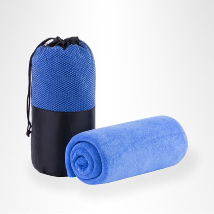Blue microfiber towel with carrying bag