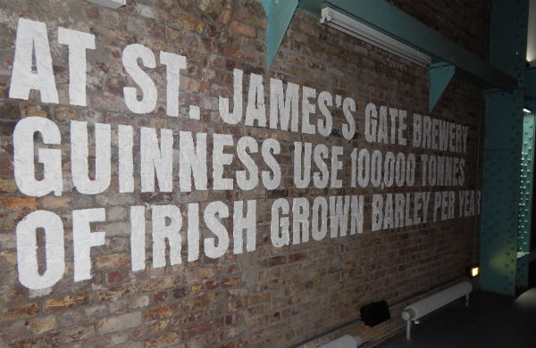 Text on the wall inside the Guinness Storehouse