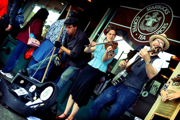 Buskers at original Starbucks