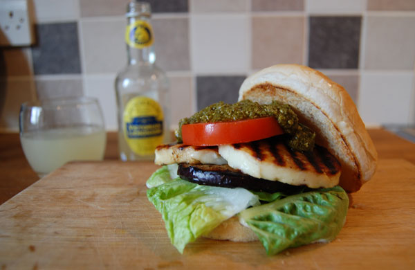 Veggie Burger Recipe: Aubergine and Halloumi Burger