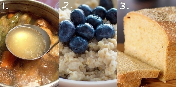 broth oatmeal bread collage