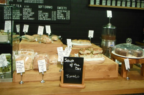 Sandwiches on display at The Photographer's Gallery Cafe in London