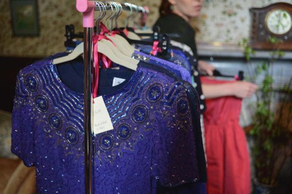 A rail of vintage dresses