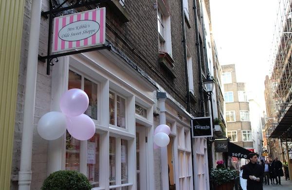 The exterior of Mrs Kibble's Olde Sweet Shoppe