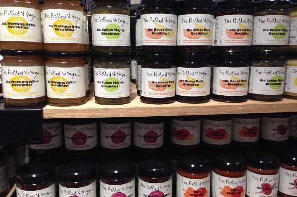 A shelf of various pickles and spreads in West Elm in London