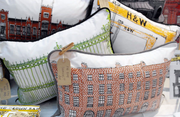 Cushions being sold at St George's Market