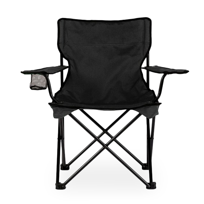 Foldable camping chair with cup holder