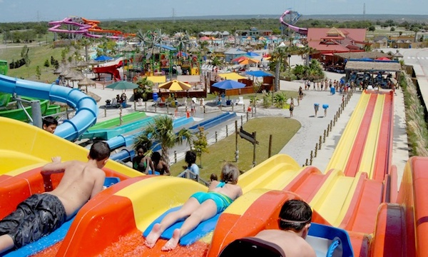 People riding waterslides