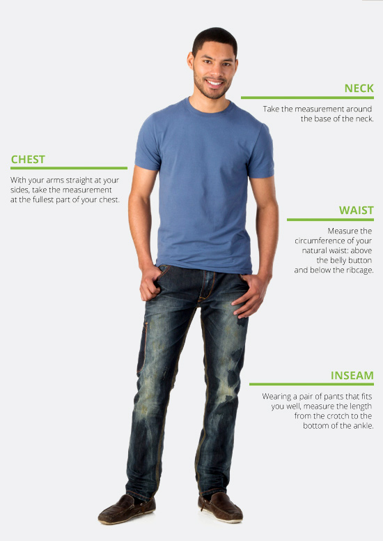How to measure men's casual tops, pants and sweaters