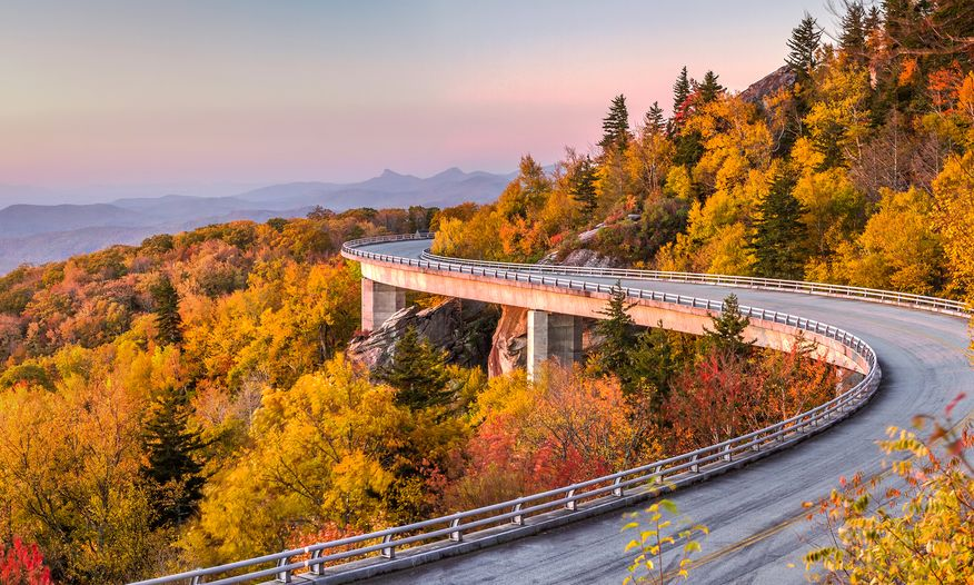 Blue Ridge Parkway at sunset in the fall
