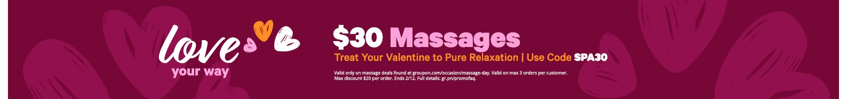 $30 Massages with code SPA30