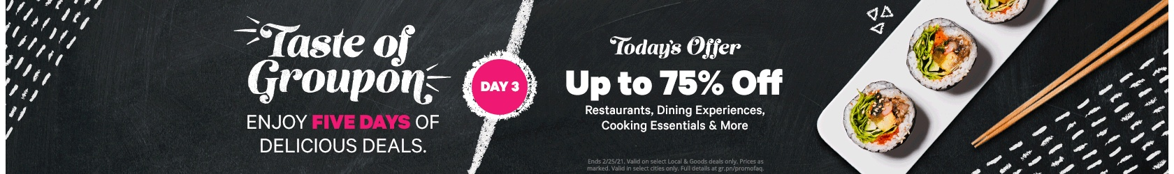 Up to 75% off Food & Drink