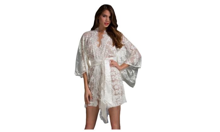 Women's Lingerie White Belted Lace Kimono Nightwear