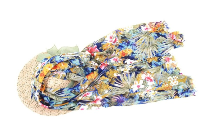 Women's Casual Chinoiserie Thin Ornament Straight Scarf – Abyss / One Size